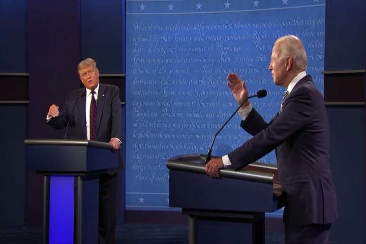 Presidential candidates Donald Trump (R) and Joe Biden (D) go toe-to-toe at the first 2020 Presidential Debate.