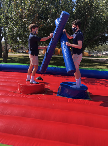 Sophomores Jake Massett (Left) and Leo Mendel (Right) are jousting in the arena