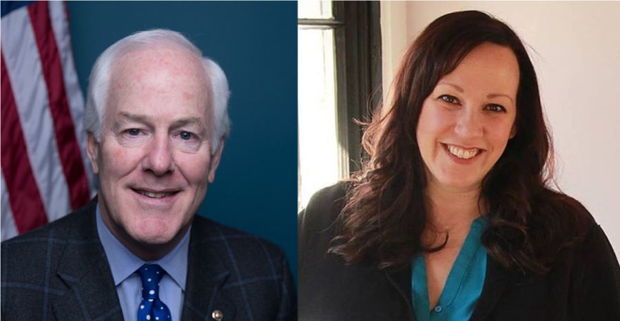 John Cornyn's official Senate portrait (Left) and M.J. Hegar (Right). Source: Wikimedia Commons