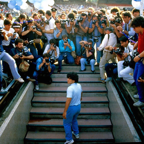 Maradona after signing with SSC Napoli