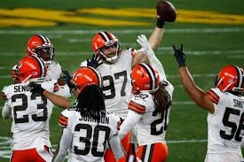 The Browns' defensive unit celebrating a turnover. Justin K. Aller - Getty Images